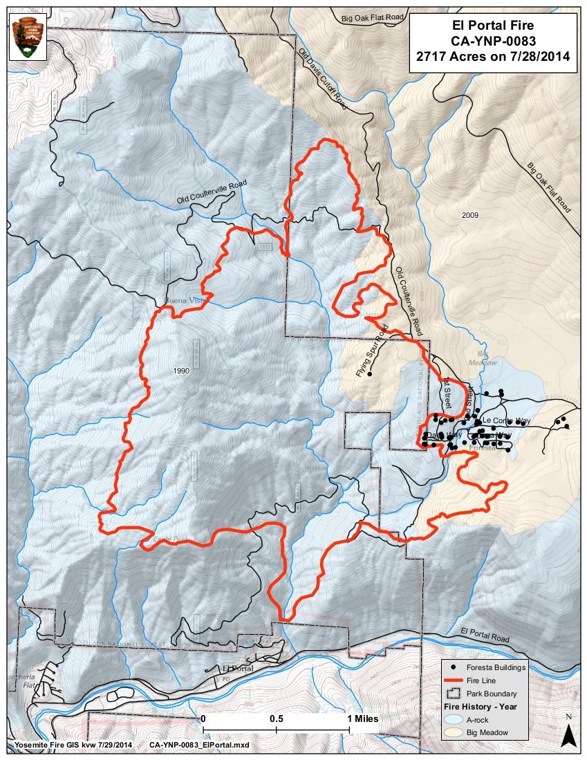 El Portal Fire map 7-30-14