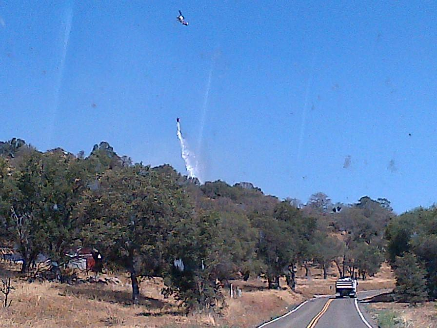 Fire On Road 415 Helicopter drop