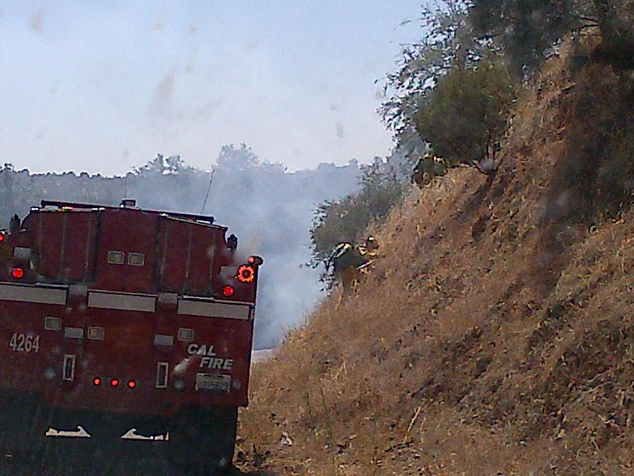Fire On Road 415 steep slope