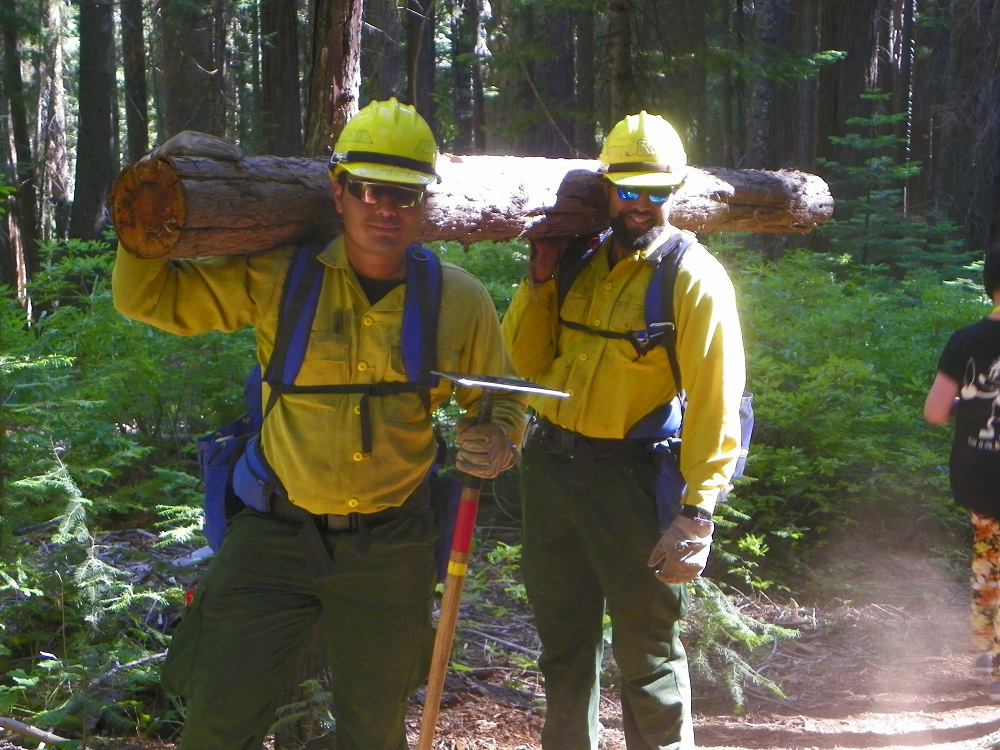 Two men from Forest Service Fresno 4 Crew in Nelder Grove carry logs in management of forest - 2014 - photo by Kellie Flanagan