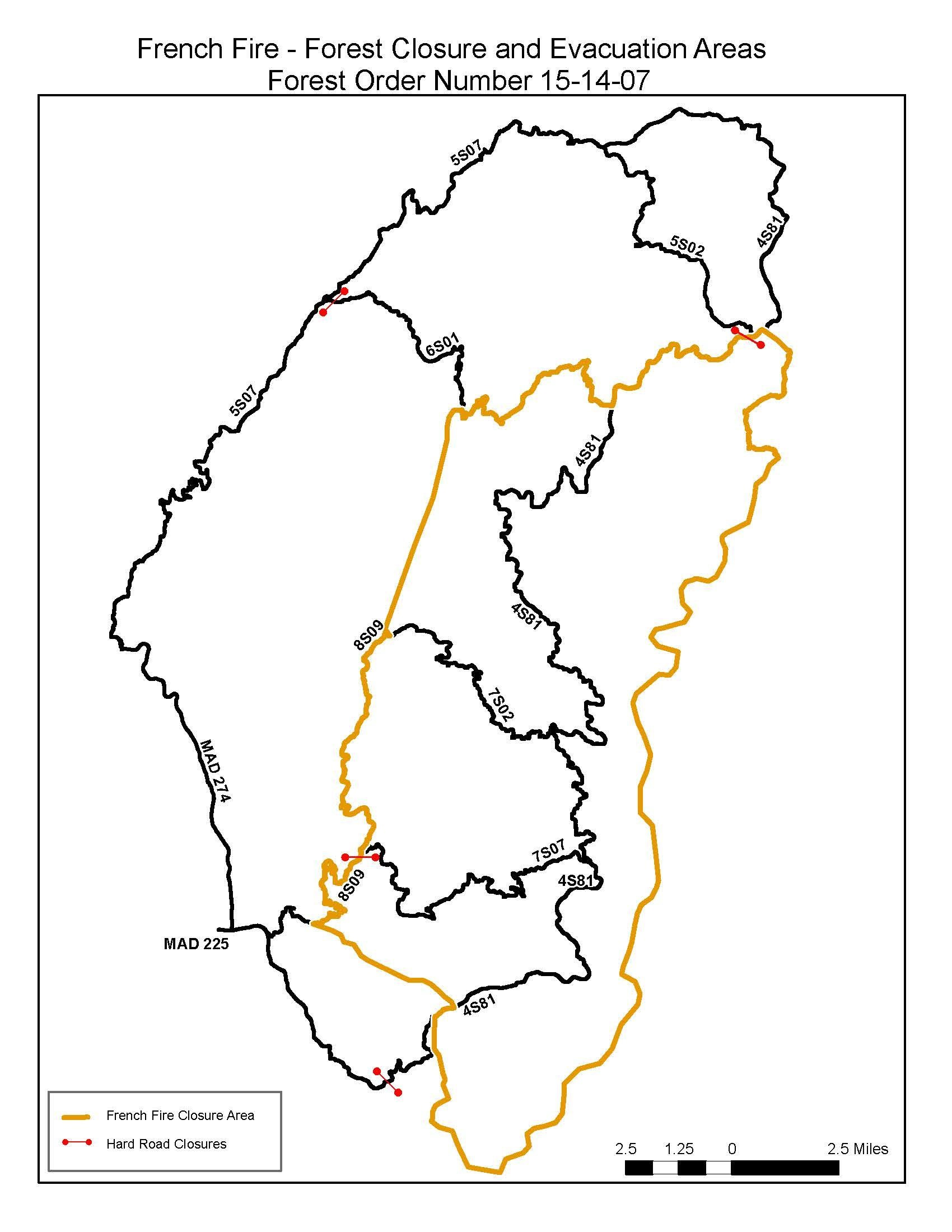 French Fire Forest Closures map 7-30-14