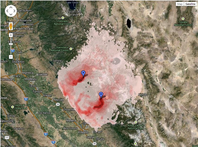 Smoke impact map French Fire 8-1-14