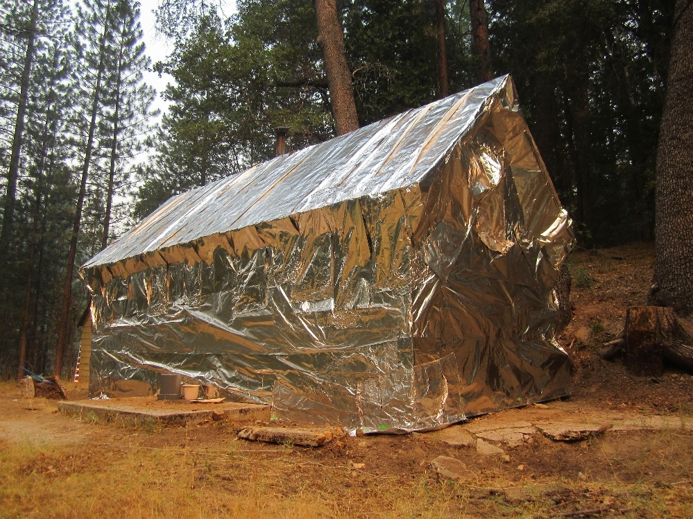 Wrapped building at Placer Guard Station - photo courtesy USFS
