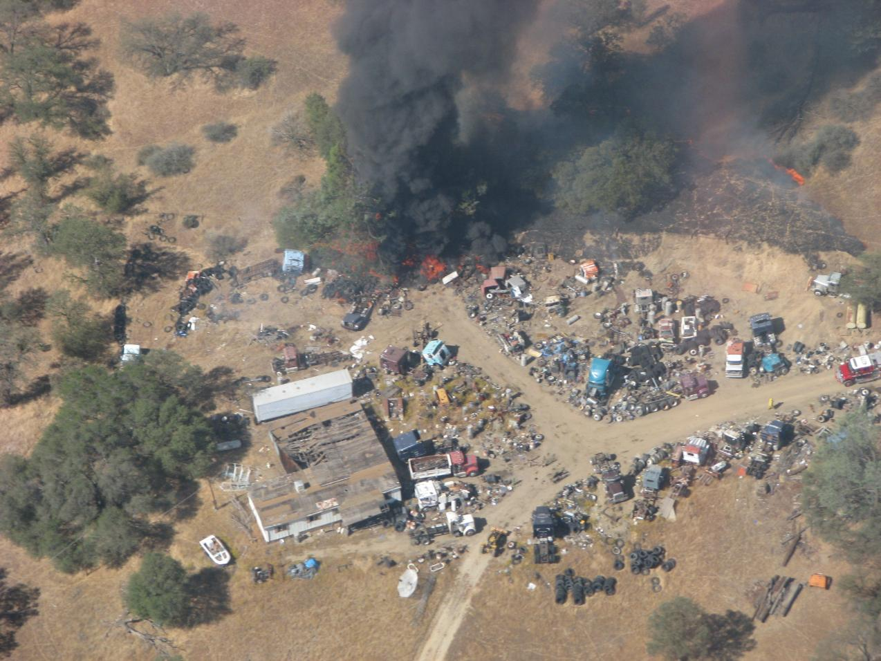 Tires burning at Gulch Fire - photo Cal Fire