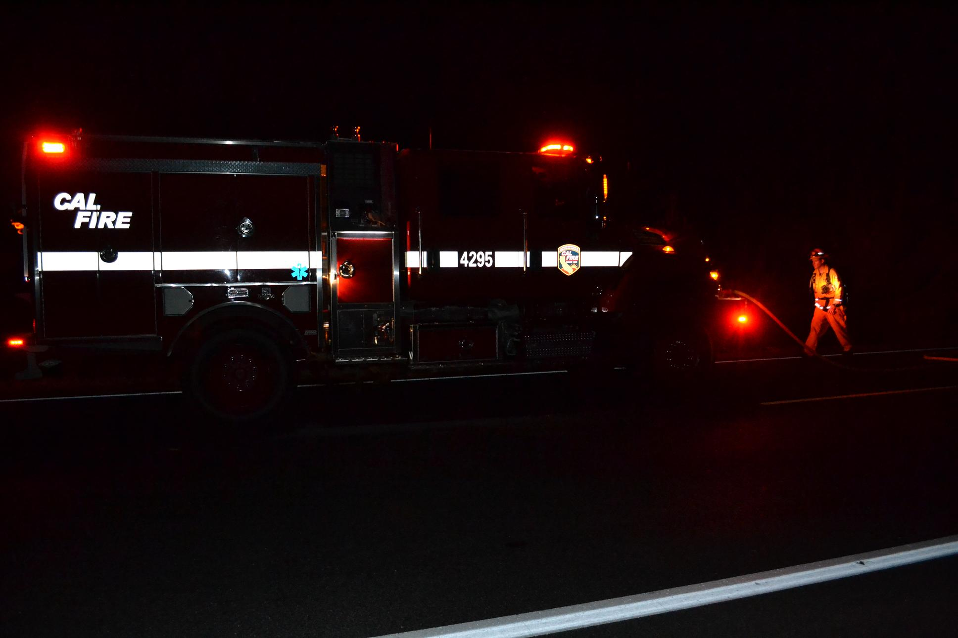 Cal Fire Engine 4295 and firefighter