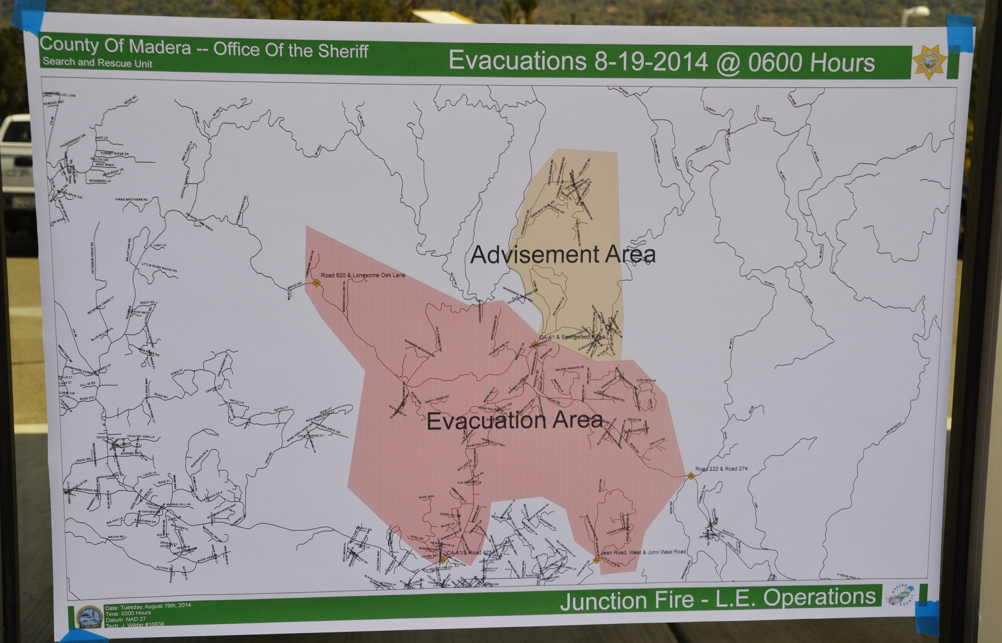 Evacuation and Advisement Area map Junction Fire 8-19-14