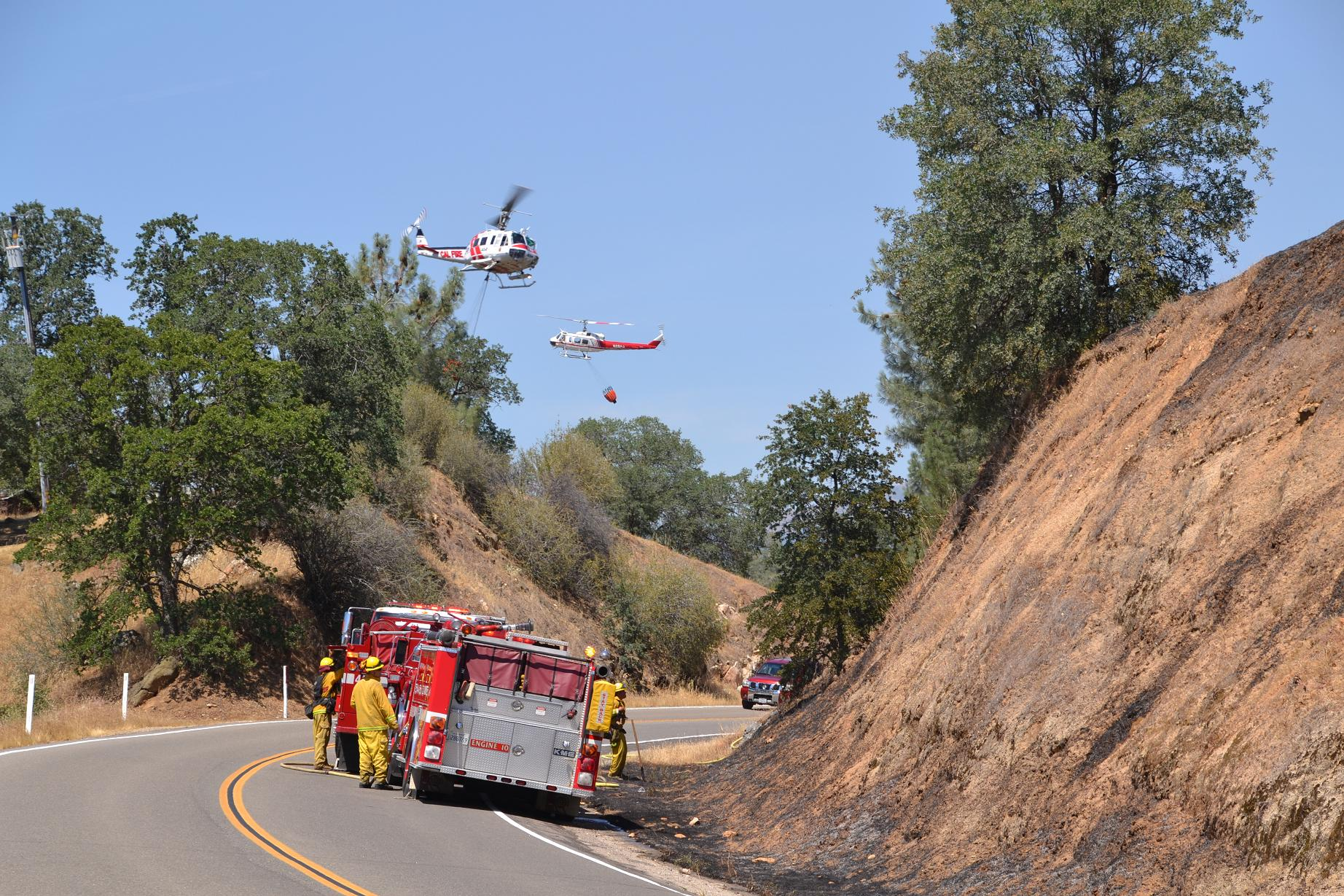 Two helicopters over Engine 10 - photo by Gina Clugston
