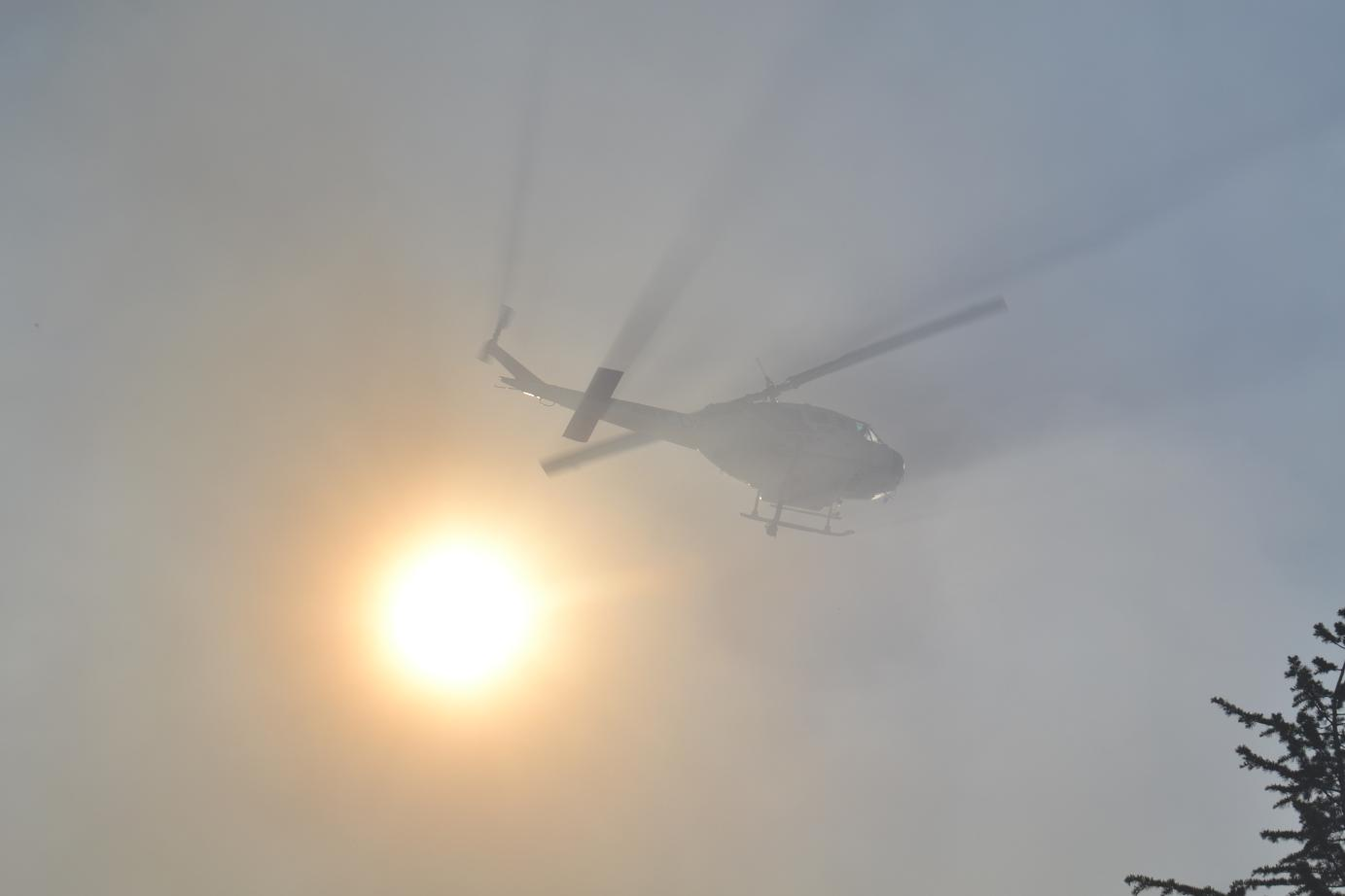 Helicopter lost in the smoke
