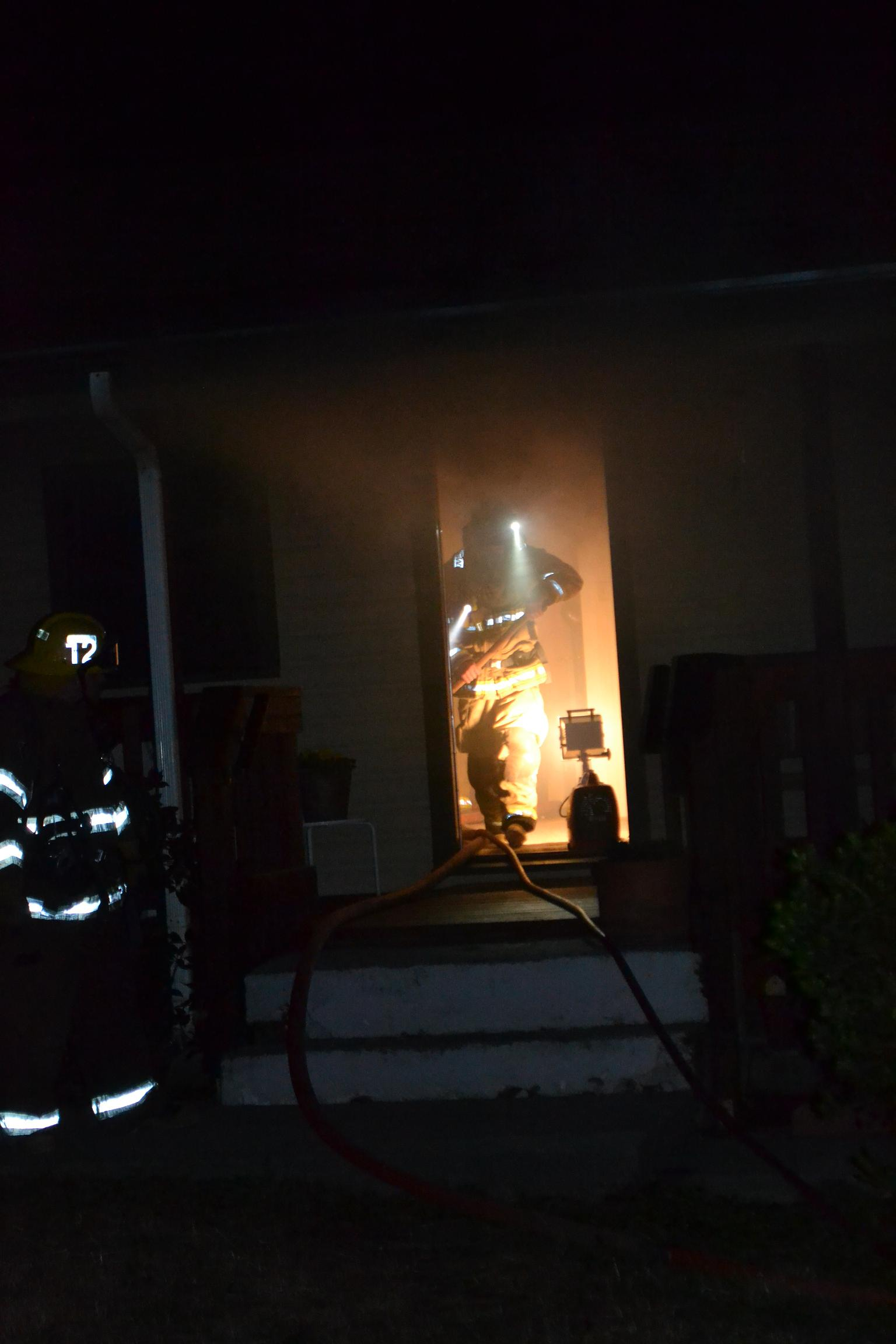 Firefighter in the door at Old Corral