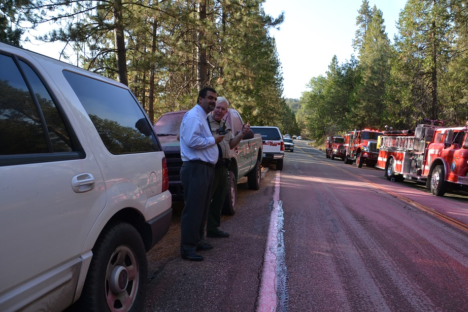Undersheriff Mike Salvador updating Facebook from the scene of the Pines Fire