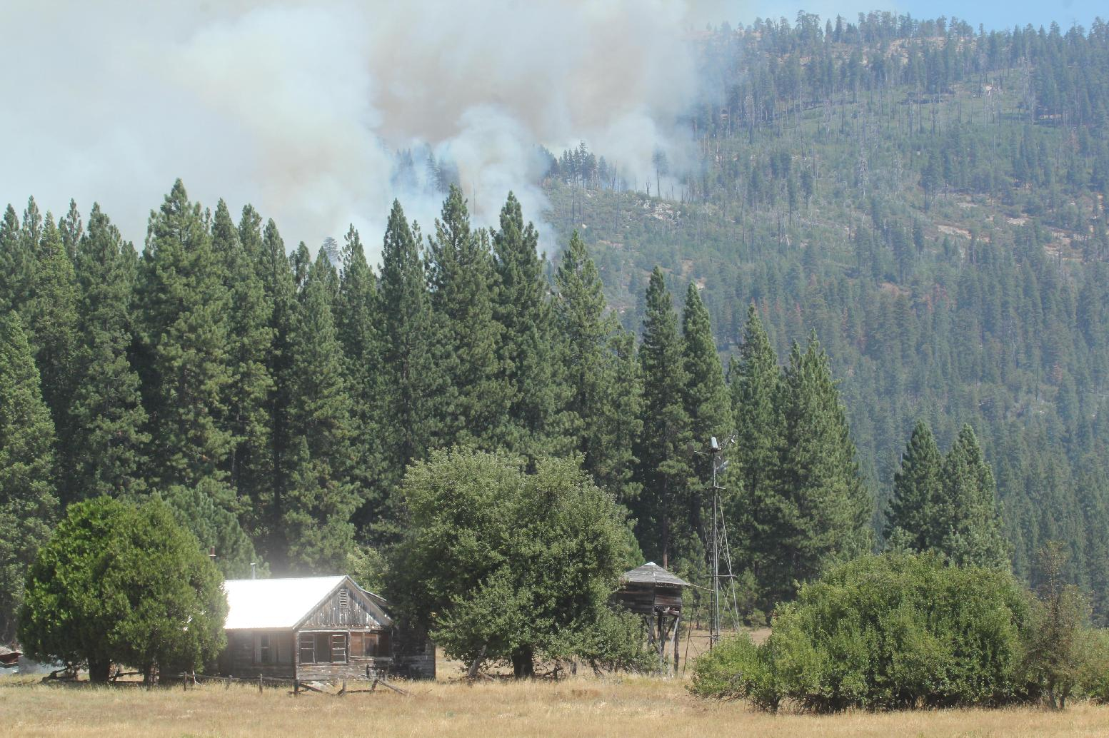 Ackerson Meadow and Rim Fire - photo USFS Mike McMillan