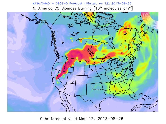 Biomass from Rim Fire - map of US - image NASA GMAO