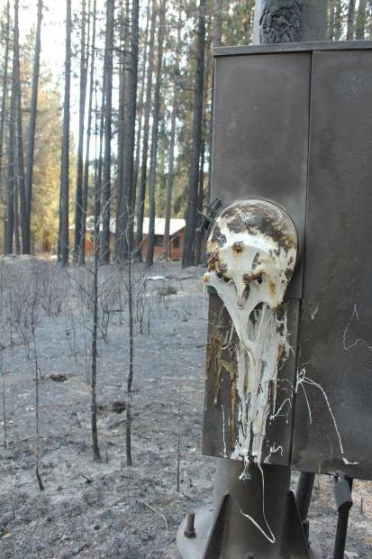 Charred power meter on Rim Fire - photo USFS Mike McMillan