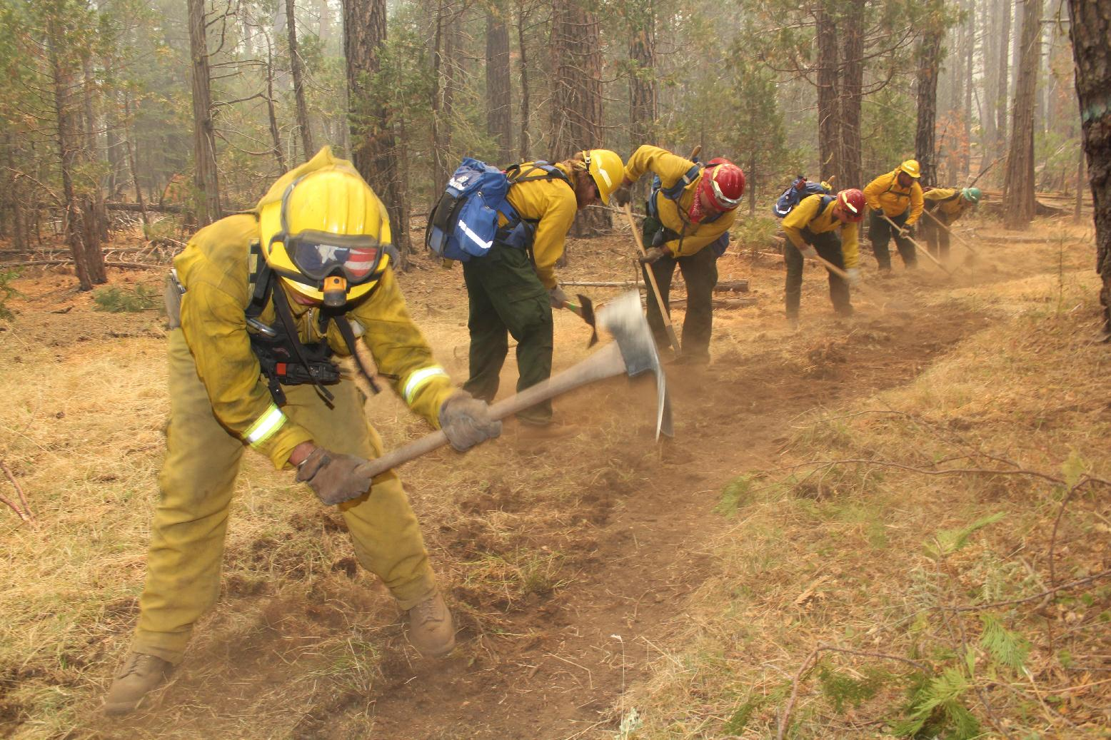 Constructing Fireline on the Rim Fire - photo USFS Mike McMillan