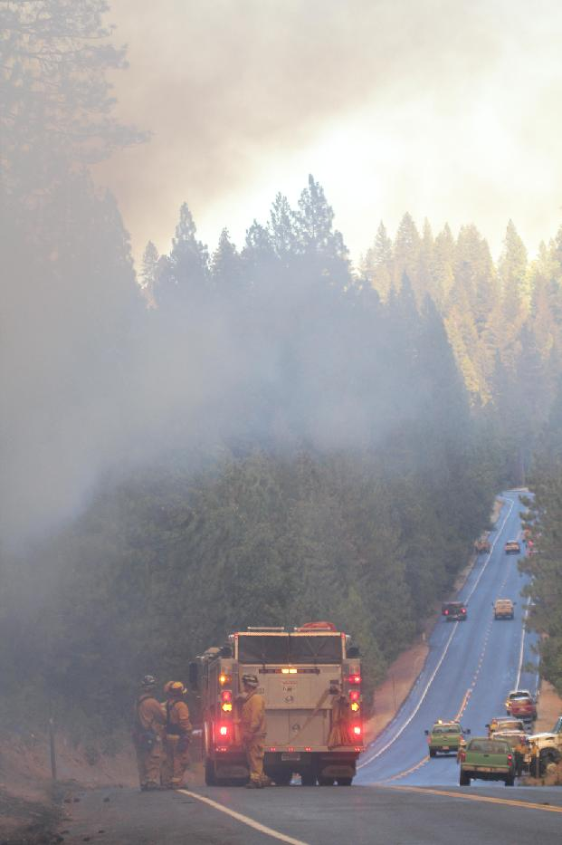 Crews hold the line on Highway 120 - photo USFS Mike McMillan