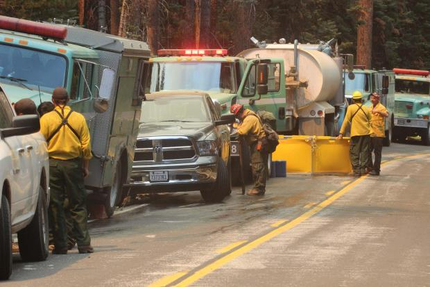 Hwy 120 Tioga Rd Task Force- Engines Water Tenders - photo USFS Mike McMillan