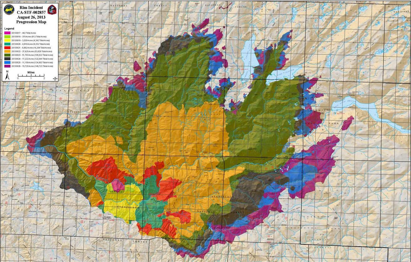 Progression of the Rim Fire map 8-26-13