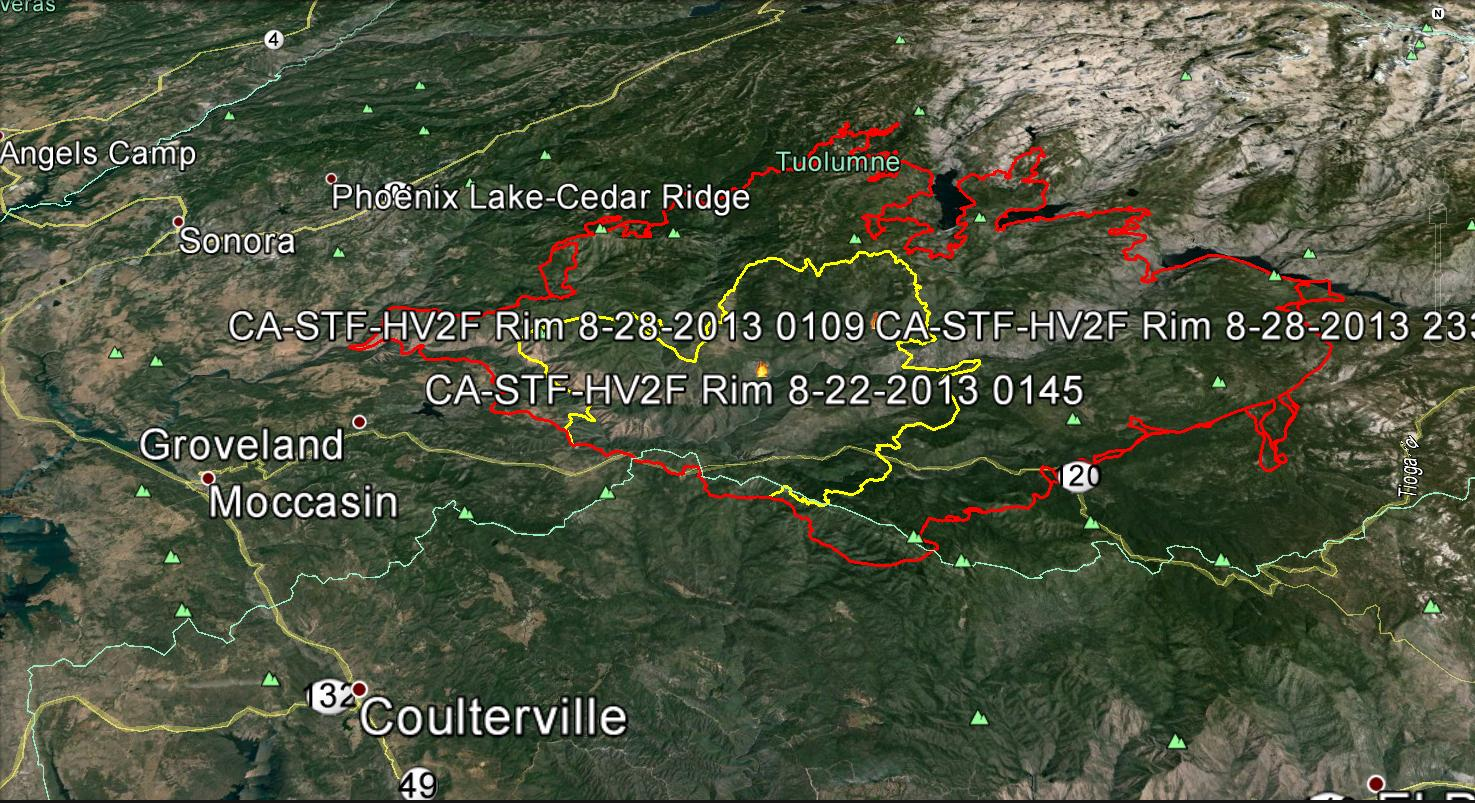 Rim Fire from 8-22 to 8-28-13