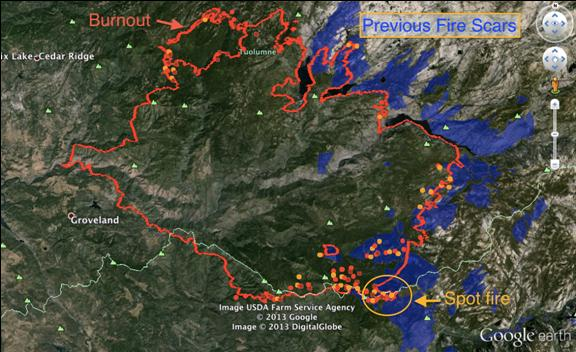 Rim fire map with previous fire scars - USDA image
