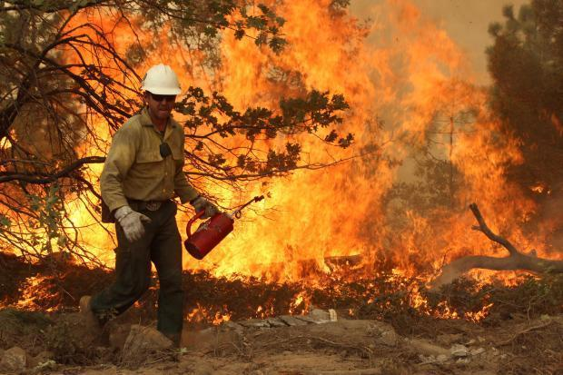 Silver State Hotshot with drip torch - photo USFS Mike McMillan