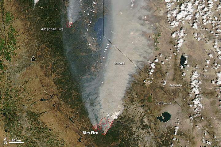 Smoke from the Rim Fire from space - NASA image