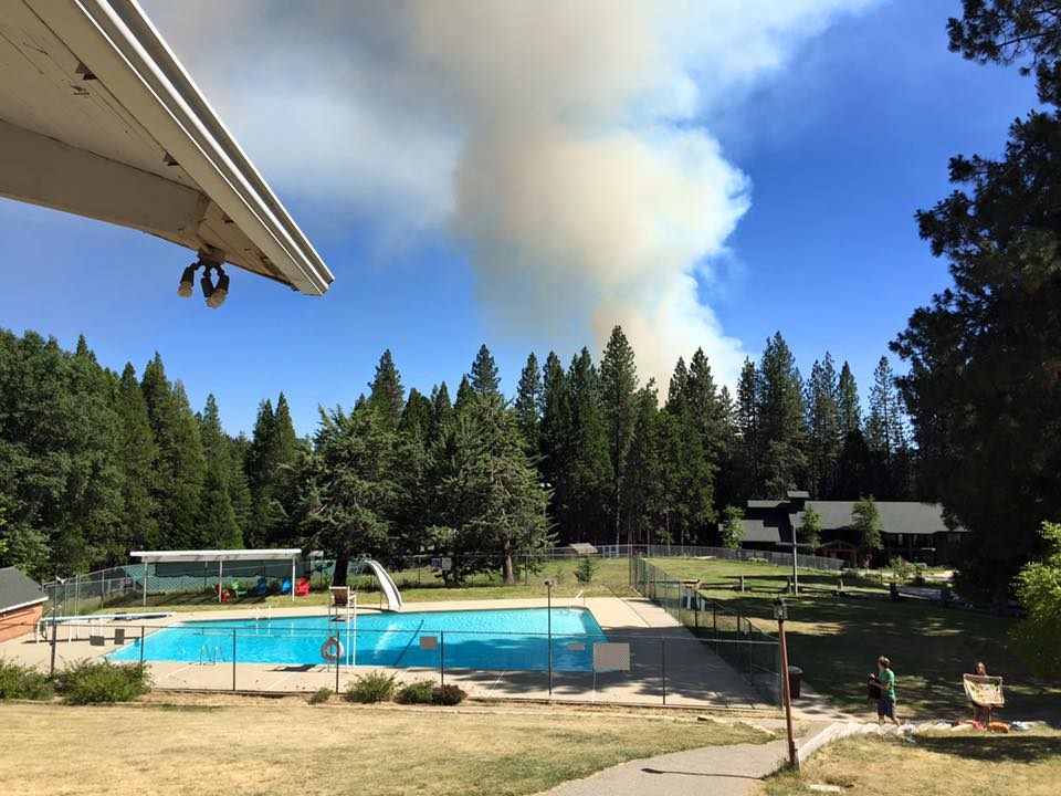 Calvin Crest posted this photo saying a vehicle fire was reported and they have evacuated DayCampers and the staff is standing by for evacuation - Courtesy Calvin Crest