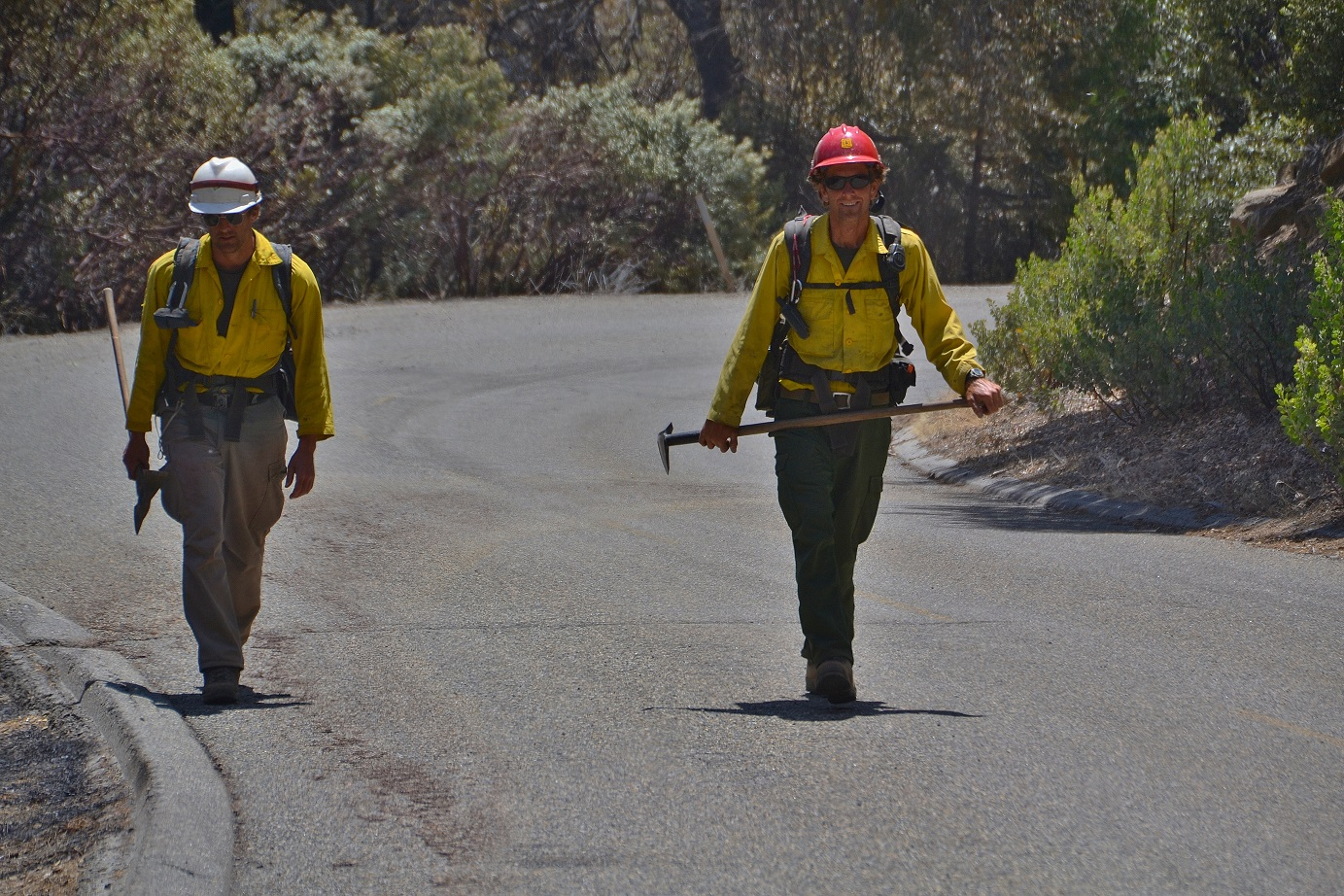 Firefighters heading for the fireline - photo by Gina Clugston