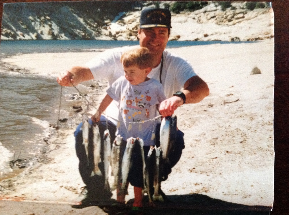 Kevin Fishing for the first time with Daddy. April 2000 at Mammoth Pools-Kevin caught 10 fish