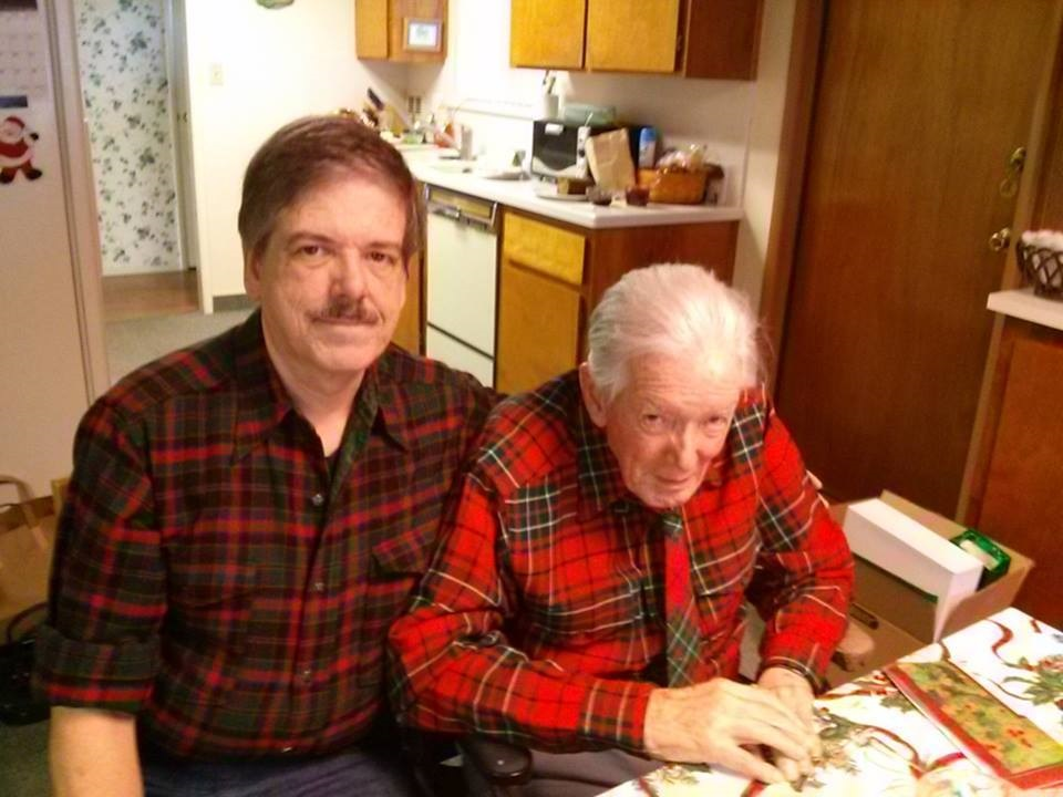 My Dad Samuel Cumming and I last Christmas - 1st Fathers day without him - the Father and Son shirts were a Christmas tradition