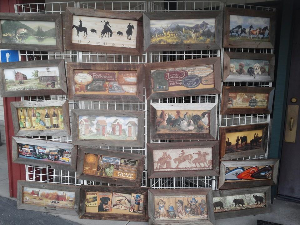 Jerri Ghazale Barnwood print closeout. Half price at 10.dollars plus tax. Unique local gifts, something for everyone. Katies Kitchen 7-2 daily