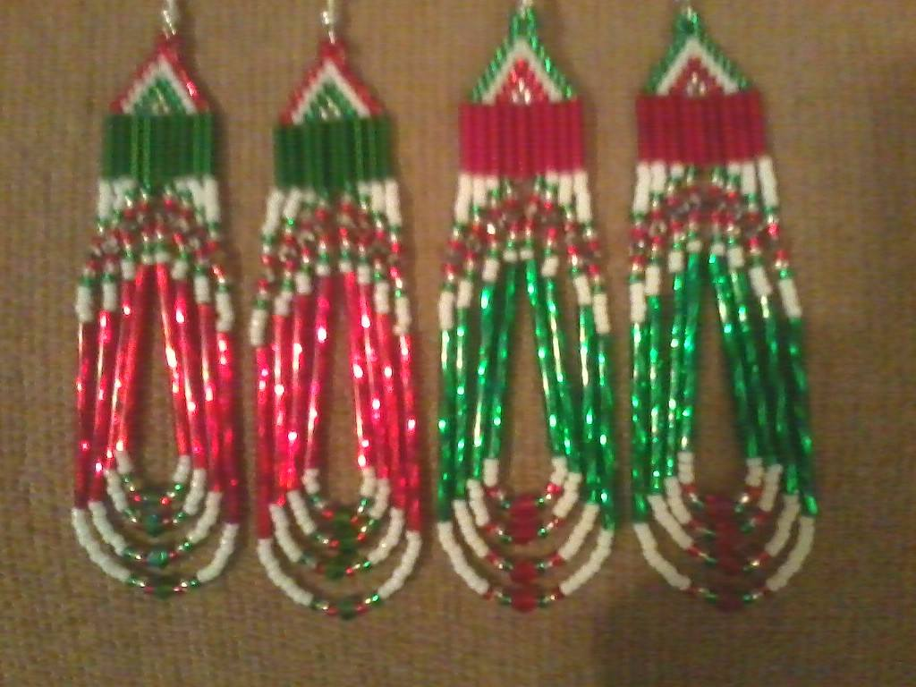 Shyloh Rowe sent in this pic of beaded earrings Handmade, all different styles, designs & any color.