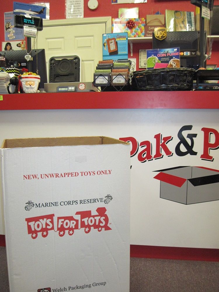 Toys for Tots box waiting for more toys at Pak and Page in Oakhurst - photo courtesy of Creative Hands