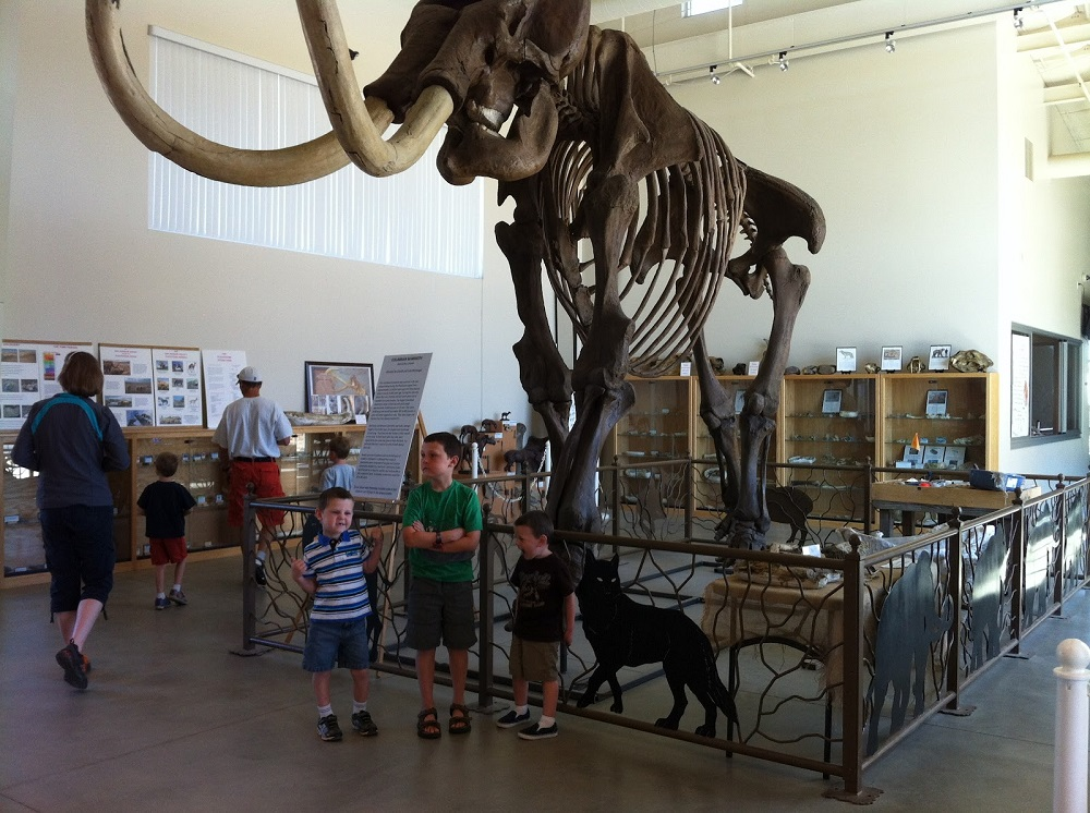 Blake Buffords nephews in front of the Columbian mammoth skeleton - courtesy FDC
