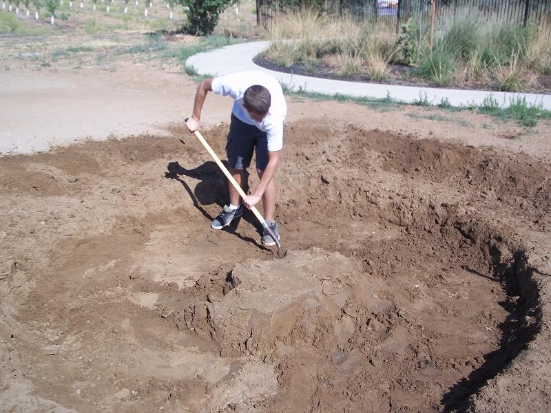 Digging foundation for Yokuts House