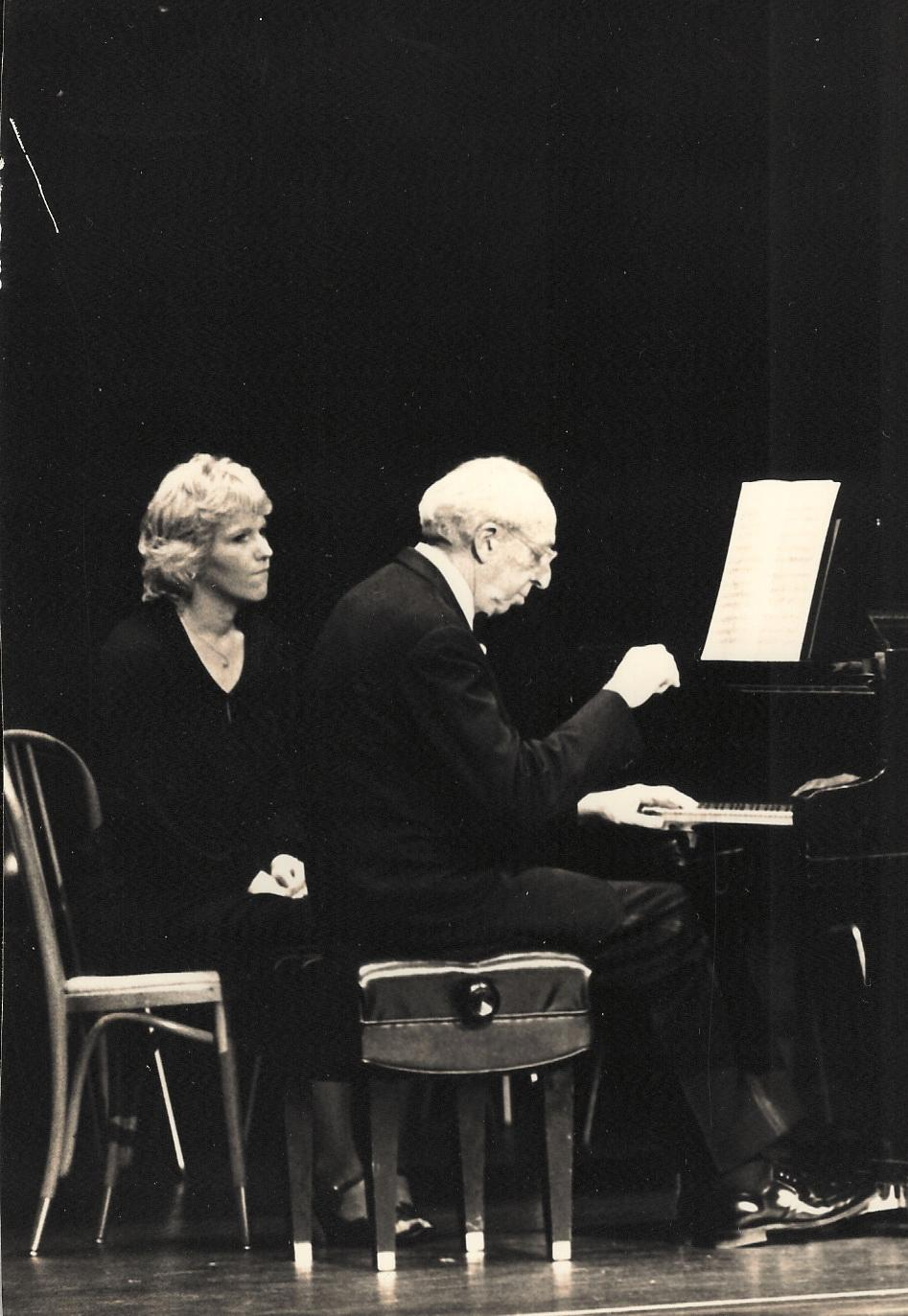 Pamela Vanderveer turning pages for Copland in concert as he accompanies a performance of his Twelve Poems of Emily Dickinson - photo courtesy MSO