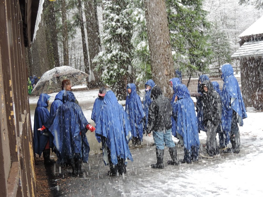 Green Meadows 2014 - Snow coming down on kids - photos courtesy of Ronda Clarke