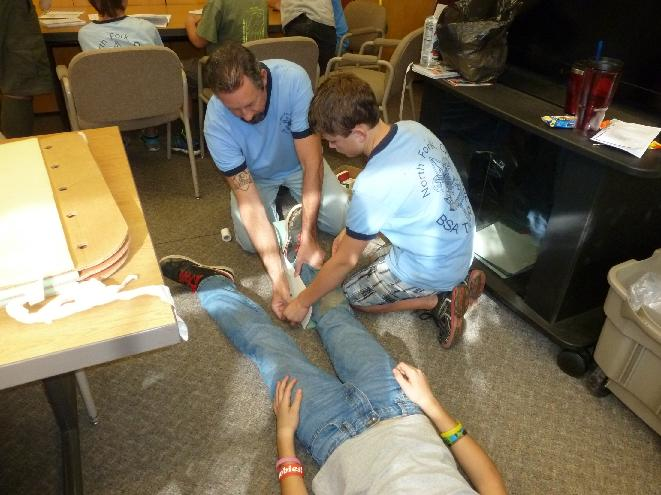 Scouts learn first aid - photo Dave Smith
