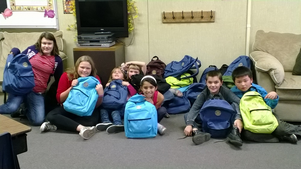 Rotary dropped off backpacks for kids at the BGC