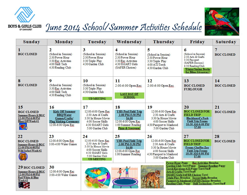 June Calendar for the BGC