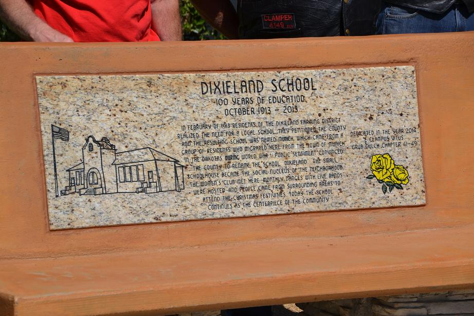 Plaque on the bench at Dixieland School