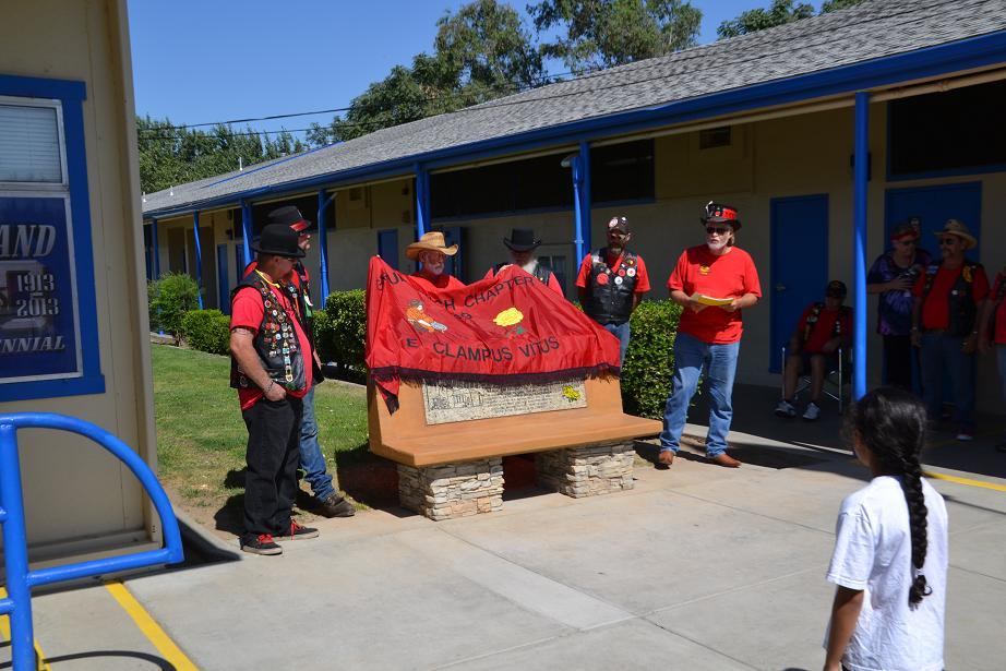 Unveiling the bench at Dixieland School