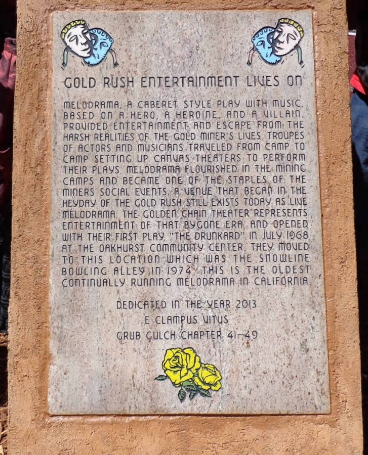 E Clampus Vitus monument at Golden Chain Theater - photo courtesy of ECV