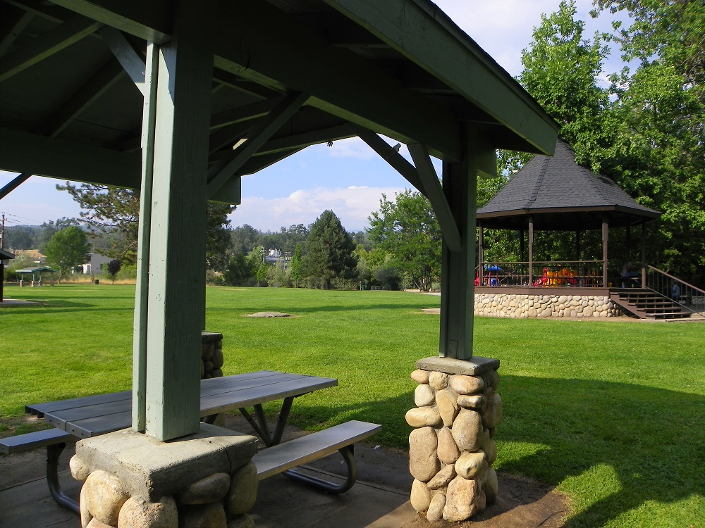 Park gazebos and play structure - photo by Kellie Flanagan