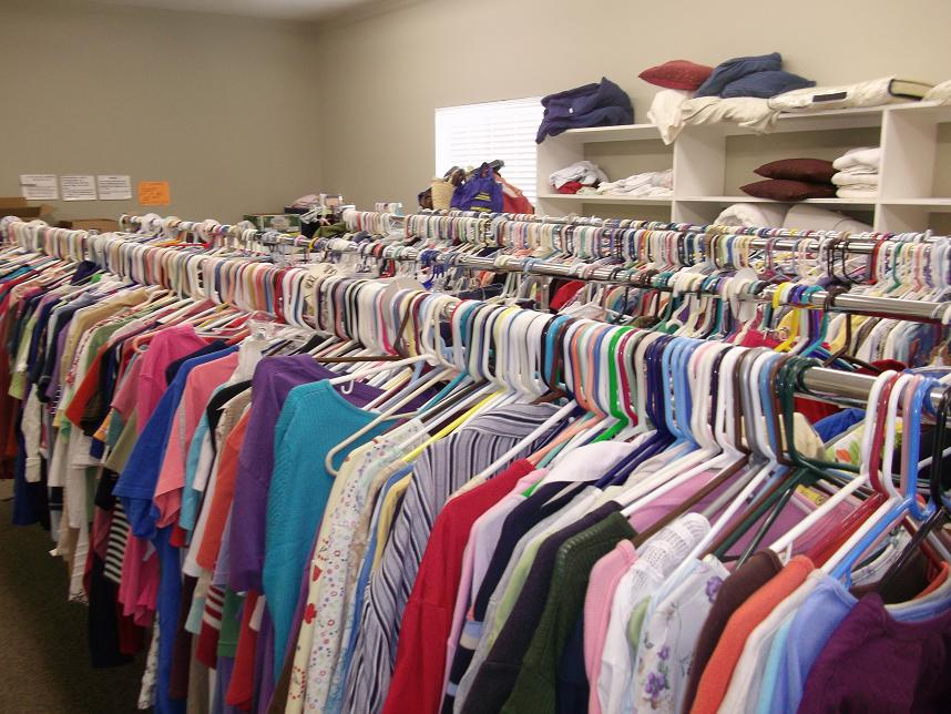 Racks of clothes at the Manna House