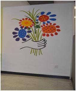 Flower Painting in Social Services Lobby