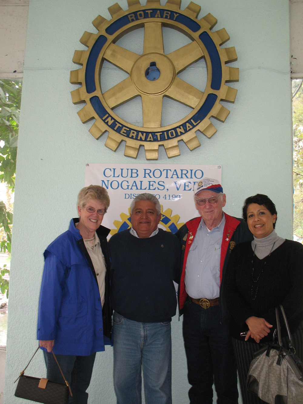 Rotary ambulance transfer - Nogales Mexico - Gordon and Carol Kennedy with Mexican Rotarians Guillermo Olivaria and her name is Lily Guterrez - Photo Courtesy Gordon and Carol Kennedy