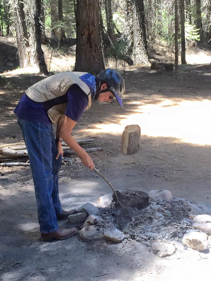 Mary Odell at Kelty Meadow Campground on June 18 2015 before the Sky Fire - photo courtesy MSO