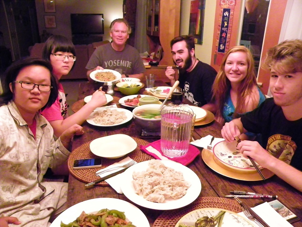 Family dinner at the Briley house with Queen Polly Dave Spenser Clara Nick - Sierra Homestay 2014 - photo by Kellie Flanagan