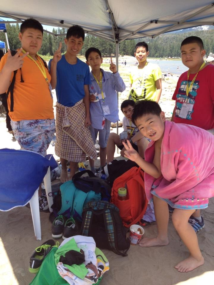 Sierra Homestay students from China visit Bass Lake - boys under the tent - July 2014 - photo by Kellie Flanagan