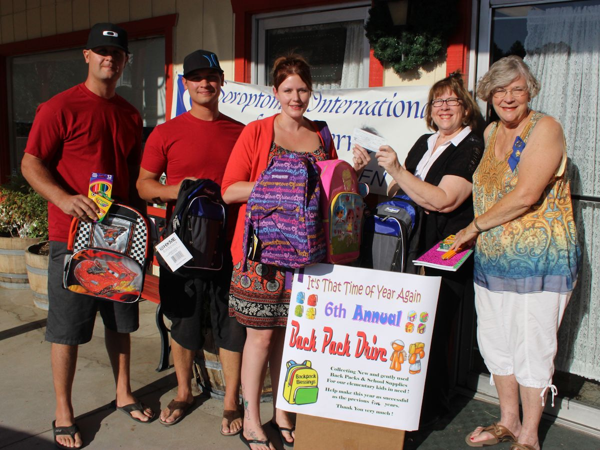 Soroptimist organization supports backpack drive 2013